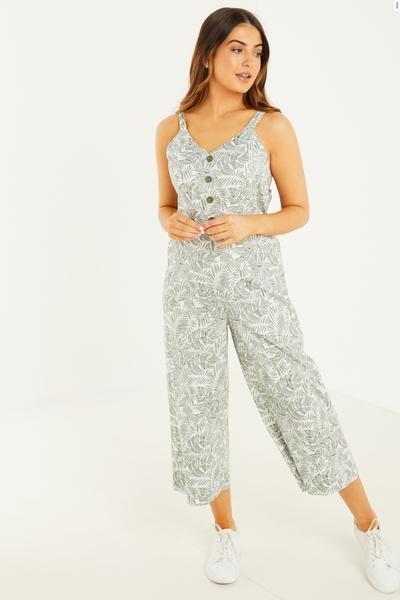 Petite Khaki Tropical Culotte Jumpsuit